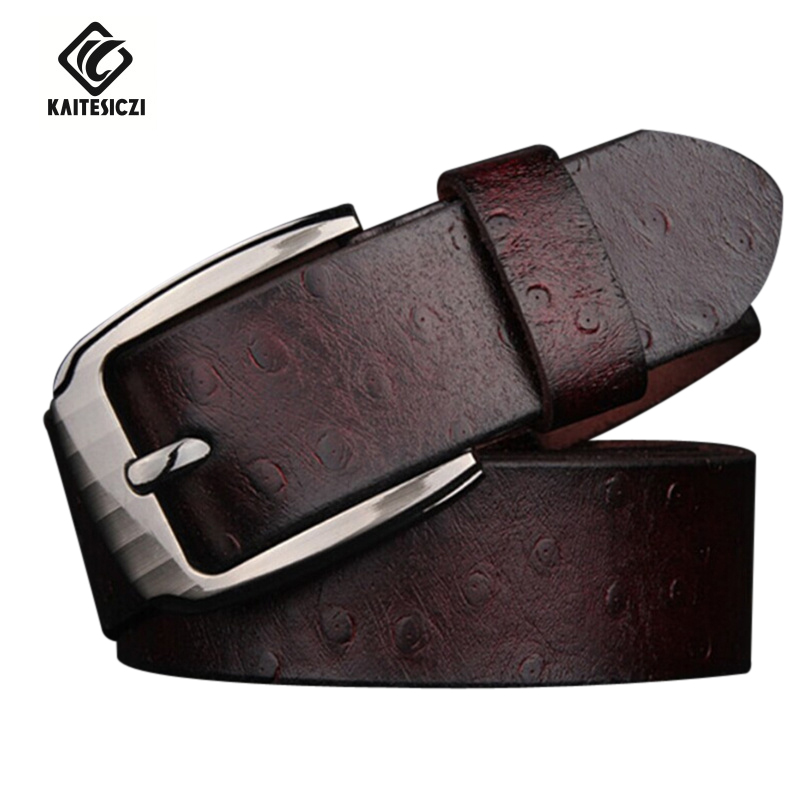 [KATESICZI] 2017 New leather belt men's 100% pure leather needle buckle ostrich pattern belt men's leisure pin buckle brand belt(China (Mainland))