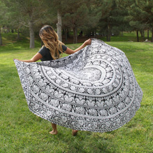 Indian Black and White Elephant Bohemian Rectangular Scarf Tapestry Wall Hanging Mandala Bedspread Shawl Scarf Ethnic Art Scarf