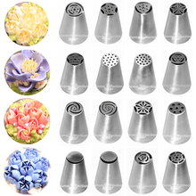 16 Kinds Style Tulip Flowers Icing Piping Nozzles Pastry Tips Metal Mold Fondant Cupcake Buttercream Chocolate Cake Bakery Tools