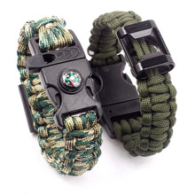 4 in 1 Emergency Survival Band For Men Women Outdoor Rescue Parachute Cord Wristband Bottle Opener Whistle Compass Paracord(China)