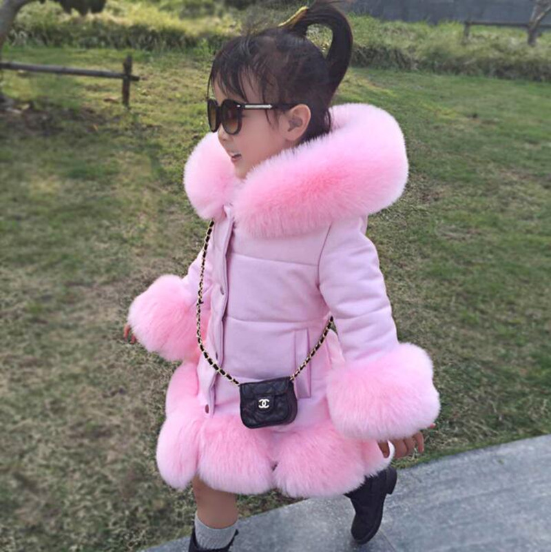CHCDMP New Kids Girl PU Leather Patchwork Fox False Fur Collar Jacket Coat Princess Winter Thicken Child Outerwear Pink Fur Coat<br>