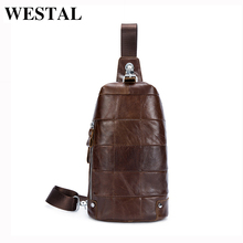 WESTAL Genuine Leather Men Bag Men Crossbody Bag Messenger Bags Small Belt Waist Pack Casual Travel Shoulder Bags Handbag 365