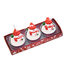 3pcs/1 box Christmas Candles Christmas Candles with Santa House Snowman Xmas Party Gift Home Decor(China)