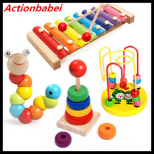 Actionbabei New Baby children hand knocking small Piano Rainbow Tower Around beads Musical instrument piano educational toys(China)