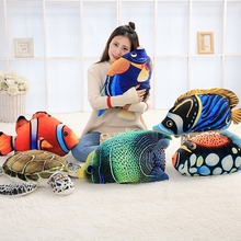Creative 3D Printed Animal Fish Pillow Turtles Sofa Throw Pillow Fish Shape Office Back Cushion Friend Gift Home Decor 45cm
