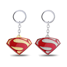 J Store Movie Superman Keychain Superhero S Logo Zinc Alloy Keyring Gold Silver Color Key Chain Ring For men sleutelhang ring
