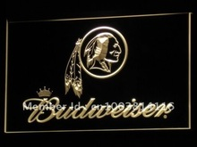 b290 Washington Redskins Budweiser NR LED Neon Sign with On/Off Switch 20+ Colors 5 Sizes to choose(China)