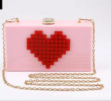 Ladies Red Heart Shape Pink Acrylic Box Clutch Bag Women Evening Bag Wedding Party Prom Shoulder Handbag Hardcase Metal Clutches