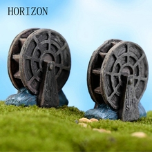 2 Pcs/lot Mini Vintage Waterwheel Miniature Fairy Garden Home Decoration Houses Craft Micro Landscaping Decor DIY Accessories