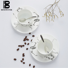 225ML European Style Simple Bone China Coffee Mug Creative Ink Painting Milk Cup Office Ceramics with Saucer and SpoonTea Sets(China)