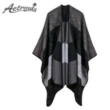 [AETRENDS] 2017 New Wide Stripes Cashmere Feel Ponchos and Capes Women's Long Poncho Winter Scarves Z-5469()