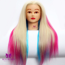 "Hair Practice Mannequin 24"" Long Hairdressing Training Head 100% High Temperature Fiber Cutting Model + Clamp Stand(China)"