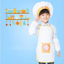 White Apron Kit Child Apron Child Chef Activity Apron Kindergarten Kid Painting Clothing Tablier Enfant Delantal De Cocina(China)