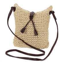 Fabric bags Shoulder Straw Summer of Women Fabric Crossbody Bags Canvas Jute Beach Travel Bag(China)