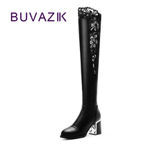 2017 high-heeled beautiful lace elastic women's high boots autumn new fashion slim sexy female shoes(China)