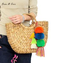 beach bag straw totes bag bucket summer bags with tassels pom pom pompon women natural basket handbag 2017 new high quality