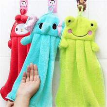 1pc Nursery Hand Towel Soft Plush Fabric Lovely Cartoon Animal Hanging Wipe Bathing Towel -15