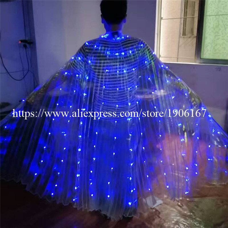 2017 Stafe Performance Prop Women Dancewear Girls DJ LED Wings Light Up Wings Belly Dance Wing Costume08