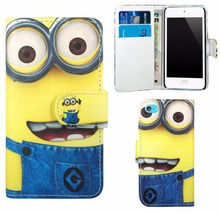 Despicable Me Minion Wallet Flip Premium Leather Skin Bag Case Cover For Apple iPod Touch 5 / Touch 6