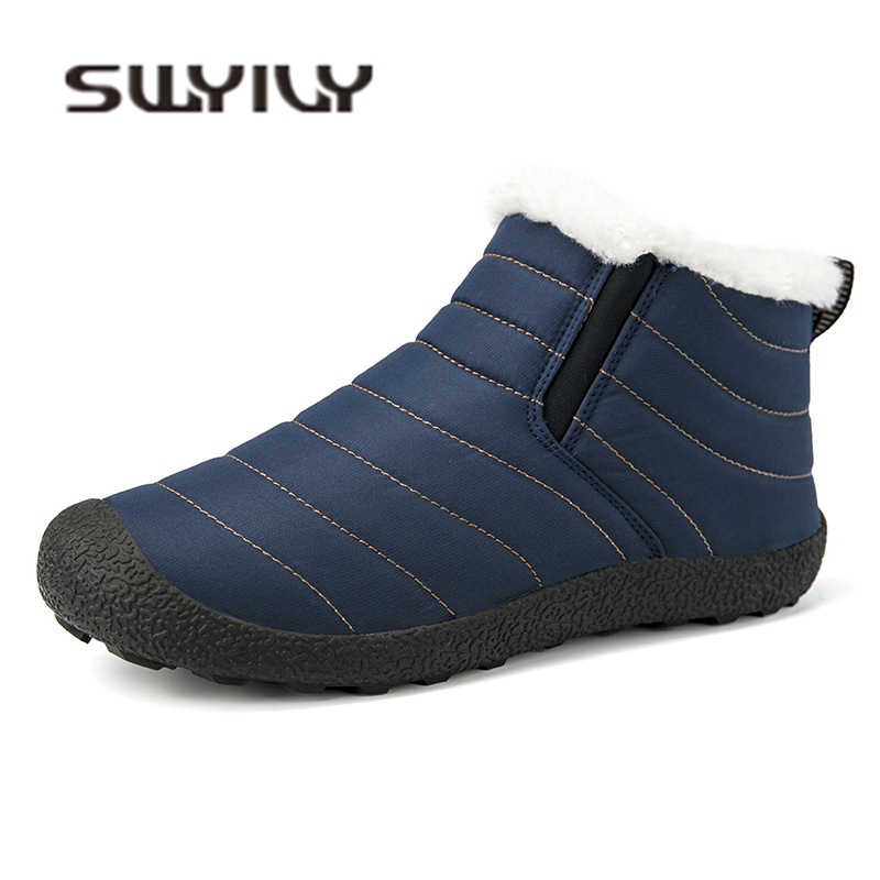 SWYIVY Velvet Snow Boots Shoes High Top Woman 35 46 Plus Size 2018 Winter Female Casual Shoes Fur Warm Waterproof Snow Boots