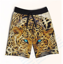 Real AMERICAN US Size Winter Eyed Leopard 3D Sublimation Print Custom made Fifth & Seventh Shorts with String