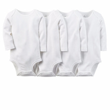 5pcs/set Pure White Cotton Unisex Neutral Long Sleeve Baby Body Clothes Infant Newborn Wear Children Kid Baby Girl Boy Bodysuit(China)