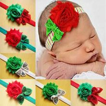 2014 toddler infant headbands children sequin boutique hair bow shabby flowers baby girls christmas hair accessories