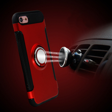 For IPhone 7 6 6s Plus Case Luxury Shockproof Hybrid Silicone Back Hard Armor Case Cover Stick To Magnetic Car Stand Ring Holder