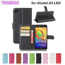 Phone Case for Alcatel A5 LED Cover Fundas Coque Capa Wallet PU Leather Case Flip Cover for Alcatel A5 LED Case with Card Holder