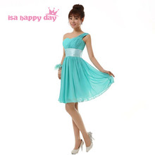 new arrival 2019 short semi formal modest one shoulder sweet a-line dress turquoise homecoming dresses under 100 for party H2698(China)