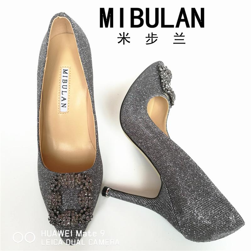 HTB1oZ83RVXXXXXfaXXXq6xXFXXXO - Free Shipping classic silk stain diamond buckle wedding heels, female shining silk stian buckle big size party pumps, 33-43