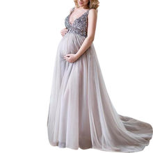 (Ship from US) Dress Sexy Women Pregnant Sling V Neck Sequin Cocktail Long  Maxi Prom Gown Dresses Vestidos  NEW 83210c6dbf98