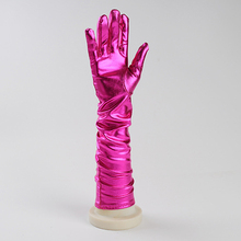 2016 Fashion Printed Gold and Silver Cloth Gloves Arm Long Satin Finger Elbow Gloves Decoration Arm Ornaments Accessories5ZHH049