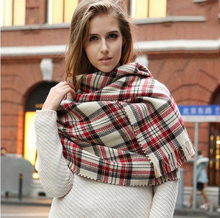 2016 winter europen style women lady fashion Scarves luxury quality warm grid stripes Pashmina Scarves shawl for women