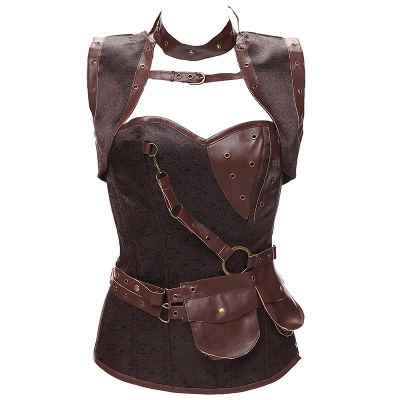 Plus Size 6XL Punk Corset Faux Leather Steel Boned Gothic Clothing Waist Trainer Basque Steampunk Corselet Cosplay Outfits Brown (1)