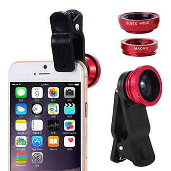 SHUOHU Universal Fish Eye 3in1 Clip Fisheye Smartphone Camera Lens Wide Angle Macro