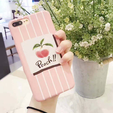 Zxtrby Hot Summer Delicious Fruit Pink Stripe Peach Phone Case For iPhone 6 6S Plus 7 7Plus Hard PC Phone Case Cover Coque