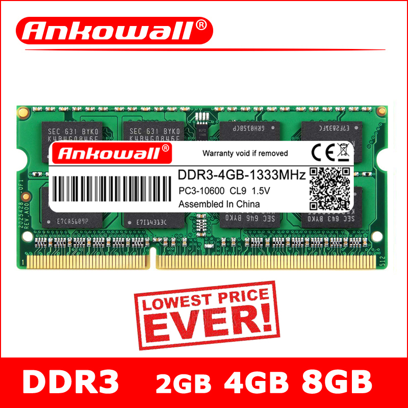 ANKOWALL DDR3 2GB 4GB 8GB Laptop 1066 1333 1600 MHz sodimm ddr3l RAM Notebook Memory 204pin 1.5V/1.35V  Warranty Three Years