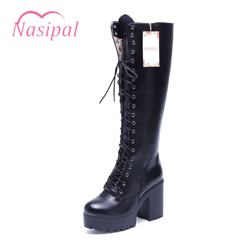 Nasipal Women Boots High Quality High Heels Platform Motorcycle Boots 2017 Women Shoe Lace Up Knee High Boots Winter Shoes G1000<br>
