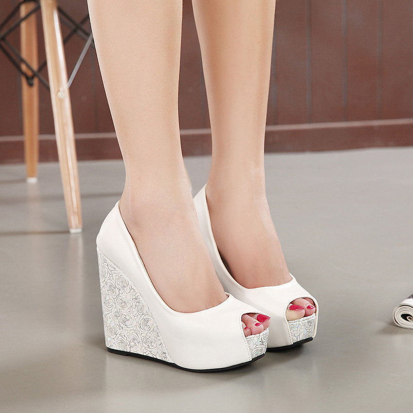 2015 Summer Style Super High Heel Peep Toe Mixed Colors Wedge Sandals Shoes On Platform Women Fashion<br><br>Aliexpress