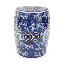Chinese traditional blue and white ceramic garden drum stools