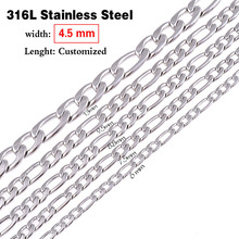 316L Stainless Steel Necklace 4.5mm Width High Quality Figaro Chain Never Fade