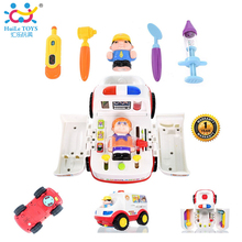 Play Basics Presents Pretend Doctor Set and Medical Kit Inside Bump and Go Toy Car with Lights and Sound / Plastic Ambulance Car(China)