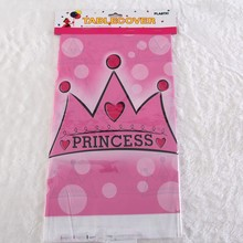 108cm Pink Princess crown Plastic disposable Tablecloth for Cartoon kids happy birthday party plastic tablecover supplies