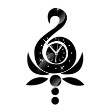 Lotus Swan 3D Mirror Wall Clock Smooth Surface Watch Clocks Living Room Decals Quartz Needle Stickers Acrylic Stand Home Decor(China)