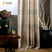 DIHIN 1 PC Luxury Embroidered Fabric Curtains Jacquard Blinds Drape Blackout European Blinds Cortinas Window For Living Room