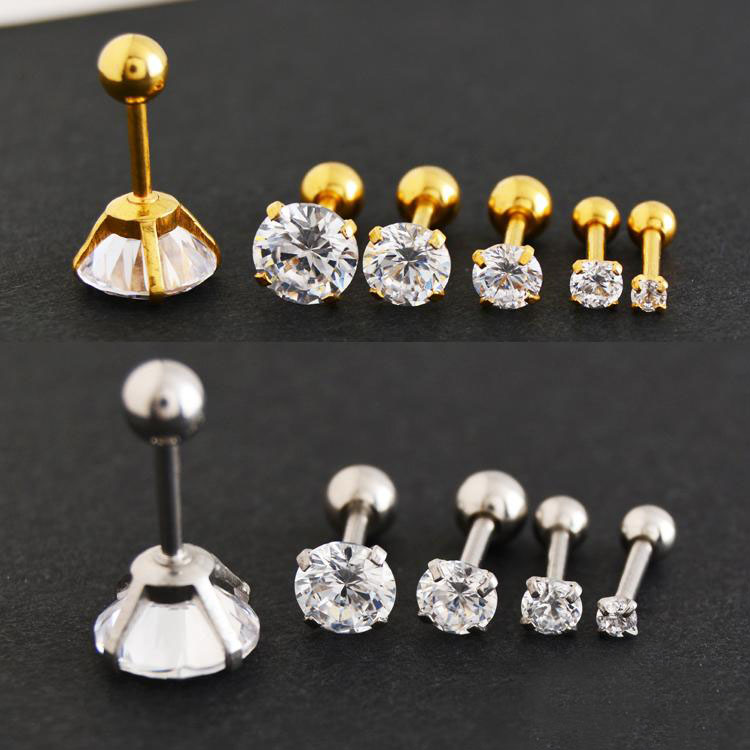Korean Zircon Earrings Ear bone Nails Anti  Allergic Round CZ Clear Crystal Gem Tragus 316L Stainless Steel 16G Women Jewelry