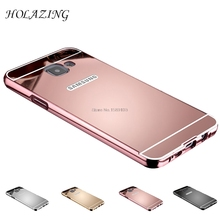 HOLAZING 2 in 1 Detachable Metal Aluminum Bumper Frame Case For Samsung Galaxy A3 2016 A310F A310M With Mirror Back Hard Cover(China)