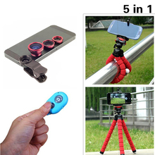 Universal 5in1 Camera Kit Fisheye Len Wide Angle Len Macro Len 3in1 Lenses Clips Tripod Shutter For iphone 8 7 5 5s 5c SE 6 6s