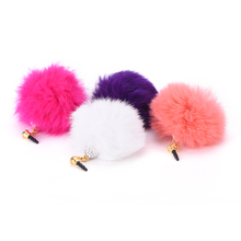 New Dust Plug Stopper Ear Cap Crystal ball Rabbit Fur Anti-dust Plug for All 3.5mm Earphone Jack Phones